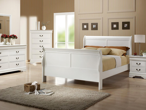 louis phillipe white queen bed frame