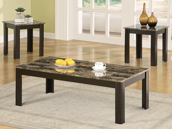 Faux Marble Black Coffee Table Set On The Go Living